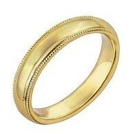Yellow Gold Milgrain Wedding Band, (3mm)