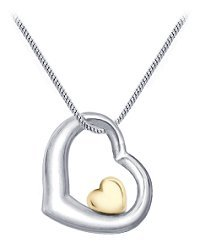 Sterling Silver and 14k Gold Double Heart Pendant