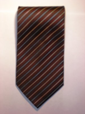 Maroone, Blue and Gold Striped Tie