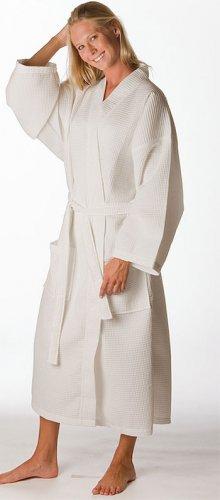 Waffle square pattern kimono bathrobe