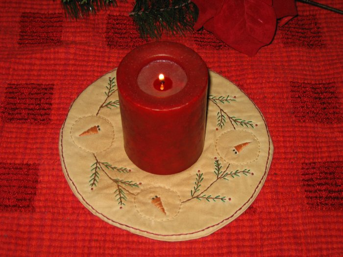 Christmas Snowman Greenery Wreath Candle Mat