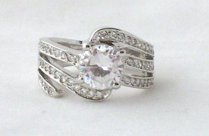 Charles Winston 3 Carat CTW Round Solitaire W/Accents Swirl Design Engagement Wedding 925 Ring New