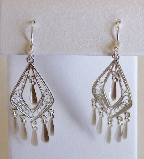 "Macy's 925 ""Victorian Style"" Chandelier Dangle Earrings New"