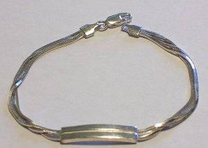 925 Silver 7.75 Inche Triple Silky Strand ID Bracelet New