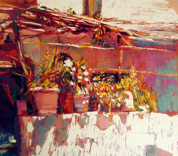 <strong>BALCONY IN AMALFI</strong> by Nicola Simbari <br>(Serigraph - Acrylic on Paper)