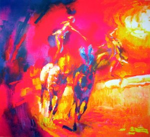 <strong>ACROBATS A CHEVAL</strong> by Nicola Simbari <br>(Serigraph - Acrylic on Paper)