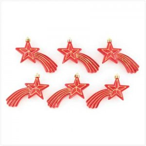 #37269 Red Shooting Stars Ornaments