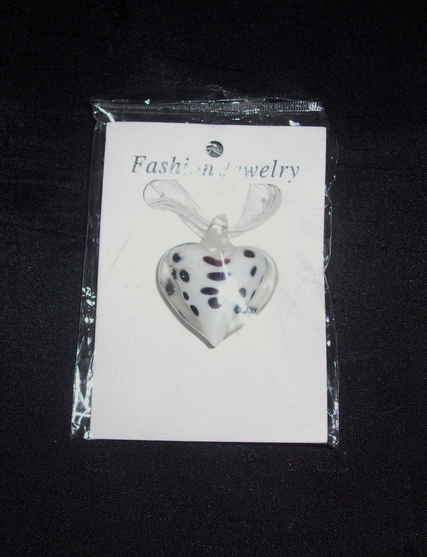 Murano Glass Heart Necklace- White
