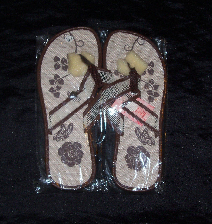 LA Beauty Brown Flower Flip Flops- Size 9 & 10