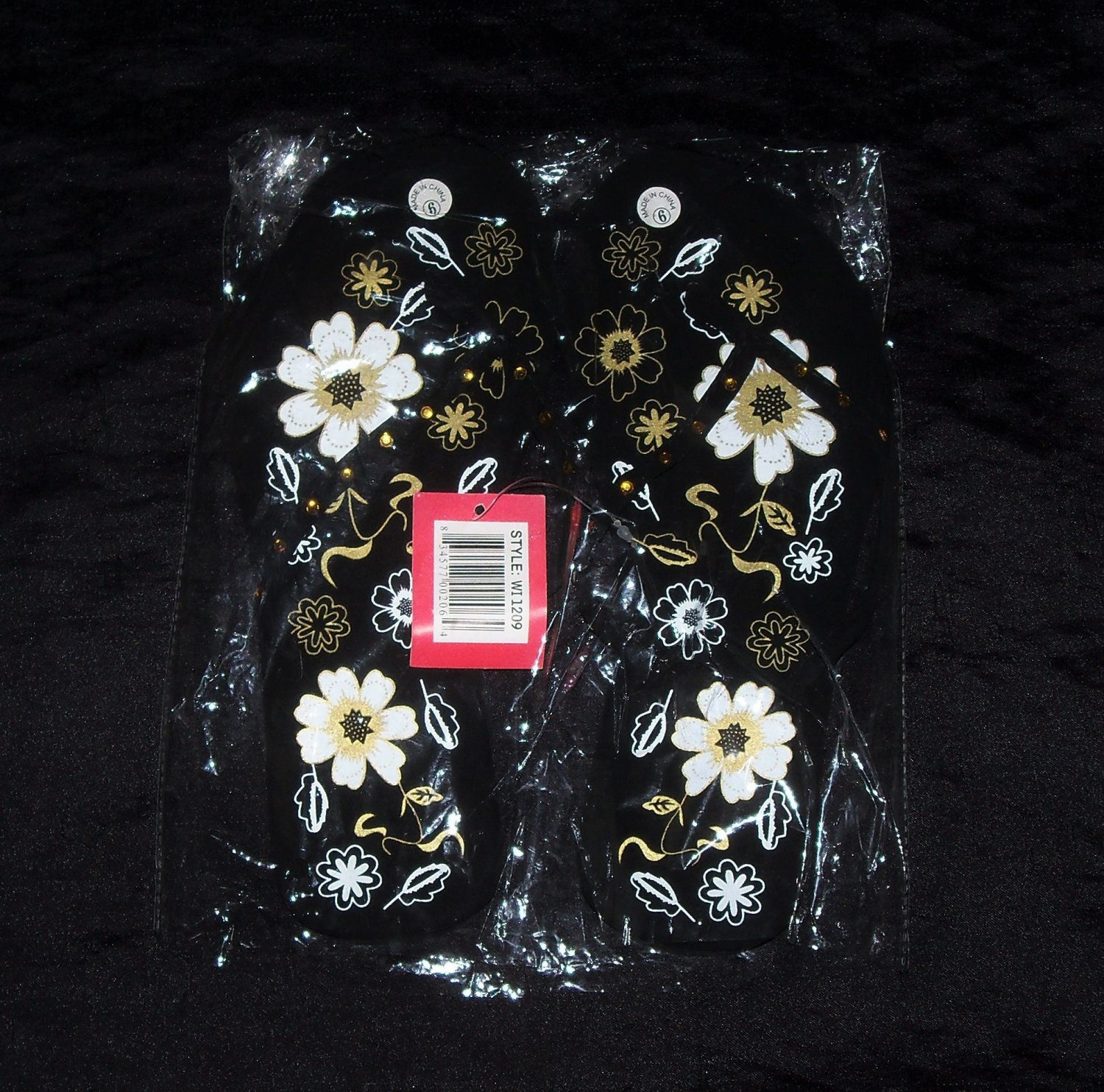 LA Beauty Black & Gold Flower Flip Flops- Sizes 5 & 6