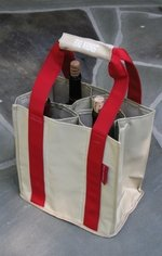 """Fine Whines"" Party To Go Tote Red/Tan"