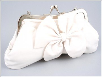 White Leather Clutch with Bow