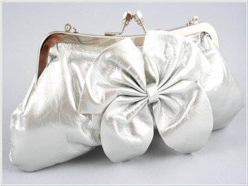 Silver Leather Clutch with Bow