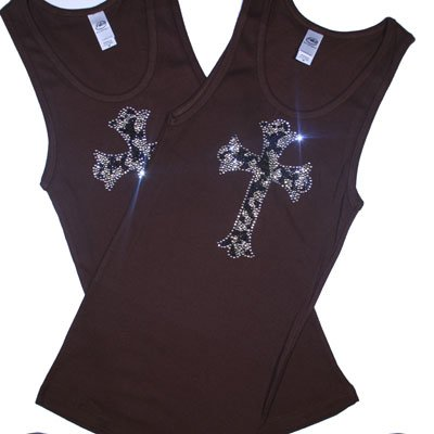 Crystal Design Fitted Tank  / Brown with Leopard Cross