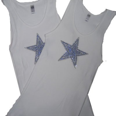 Crystal Design Fitted Tank  / White with Blue Star