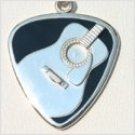 Acoustic Guitar Pick Necklace w/Black Enamel