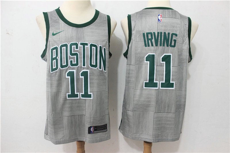 big sale b8966 88ece IRVING 11 Boston Celtics City Replica Stitched Jersey Gray