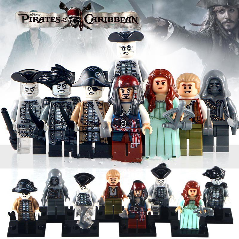 8pcs Pirates Of The Caribbean Davy Jones Jack Lego Minifigure Toys