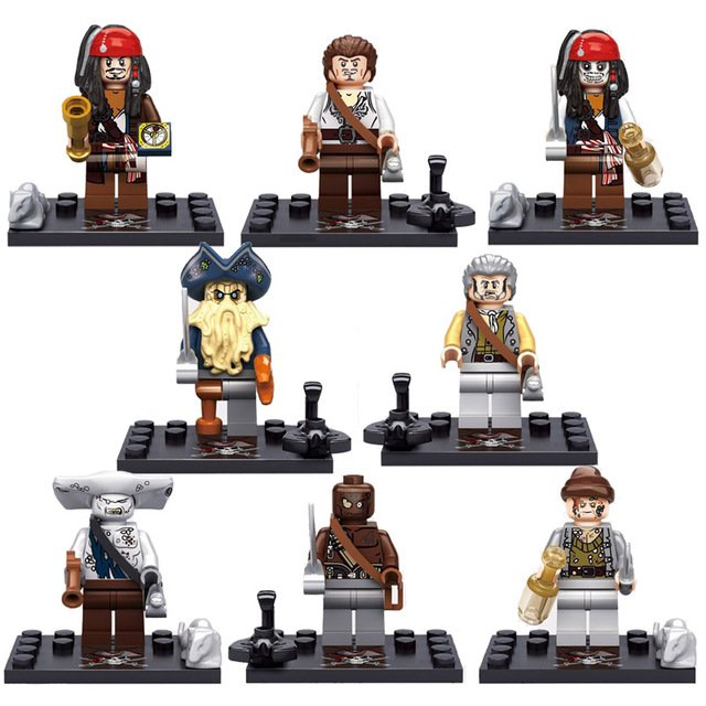 8pcs New Pirates Of The Caribbean Davy Jones Lego Minifigure Toys