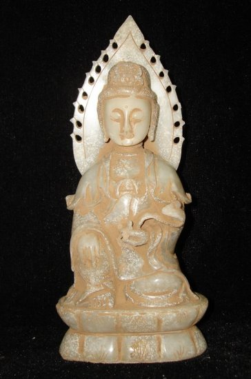 Old Chinese Quan Yin &Ru Yi White Jade Carving AD1644