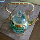 Grape Design Glass and Gold Teapot