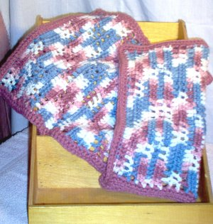Crochet Acrylic Dishcloth Set of Two Red Heart Yarn by The Village Craftsmith