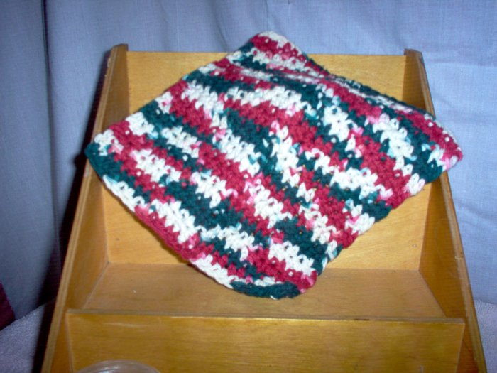 Country Christmas Handmade Crocheted 100% Cotton Washcloth by The Village Craftsmith