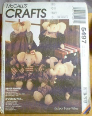 16 inch Elephant Doll McCalls Sewing Pattern 5497 Uncut Unused 1991