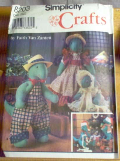 Dinosaur Doll Simplicity Sewing Pattern 8203 Unused Uncut in Two Sizes designed by Faith Van Zanten