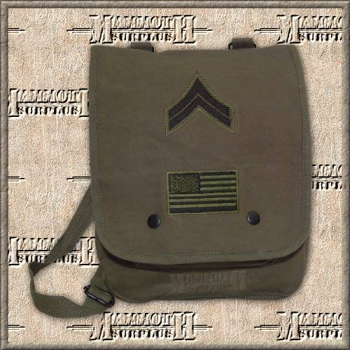 Map Case Shoulder Bag With Military Patches, OD Green