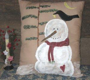 Primitive Snowman & Crow Hand painted Pillow