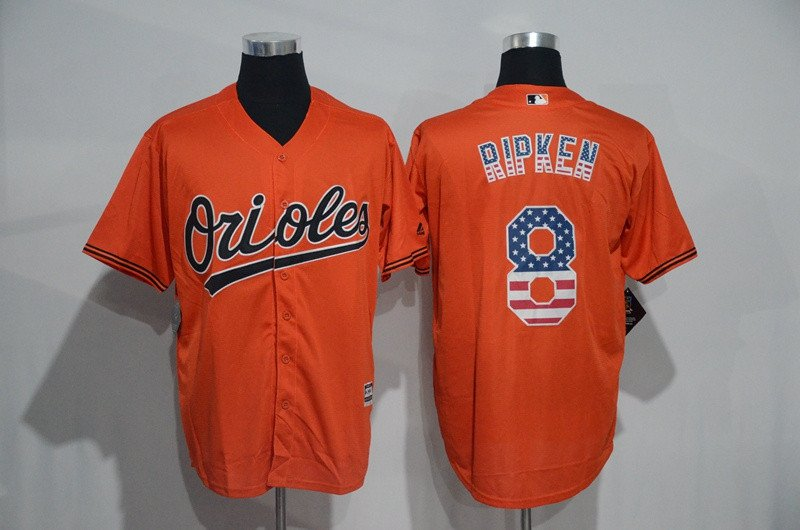 6120dbe2995 Baltimore Orioles 8 Cal Ripken Orange USA Flag Fashion Baseball Jersey  M-XXXL
