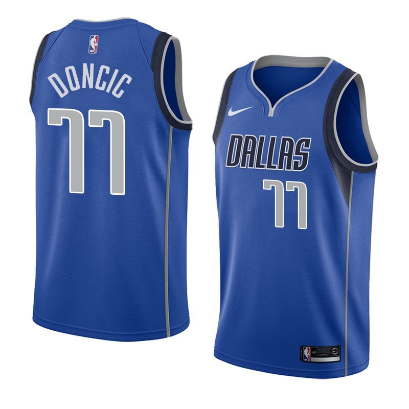Men s Dallas Mavericks  77 Luka Doncic Jersey Blue New c1ab92bde