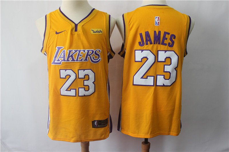 2779fa46baef Men s LeBron James  23 Los Angeles Lakers Basketball Yellow Jersey