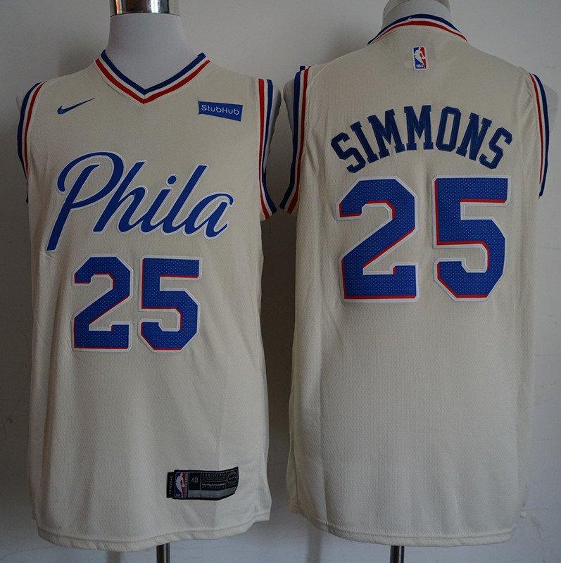 5482a8e8b Mens 76ers  25 Ben Simmons cream basketball jersey
