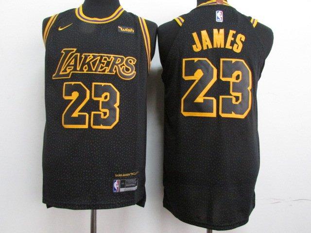huge selection of 329ba b6b69 Men's LeBron James #23 Los Angeles Lakers Basketball Black Jersey