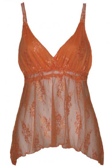 Orange Floral Lace Babydoll Top - Medium