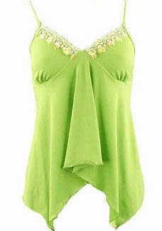 Green Lace Trim Babydoll Camisole Top - Small