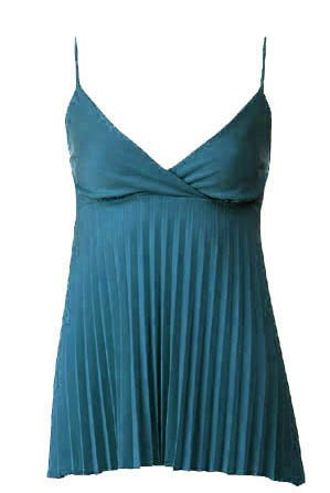 Trendy Sexy Classy Teal Pleated Camisole Babydoll Top - Large