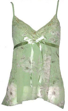 Romantic Dreamy Sexy Sage Floral Chiffon Babydoll Top - Small