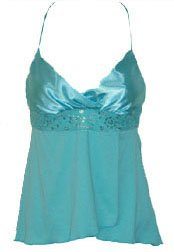 Sweet Flirty Sexy Blue Satin Stretch Sequins Top - Small