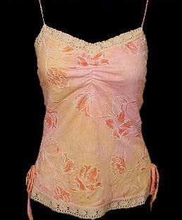 Sweet Orange Floral Watercolor Crochet Cami Top - Medium
