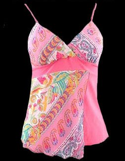 Vibrant Pink Boho Floral Georgette Cami Top - Medium