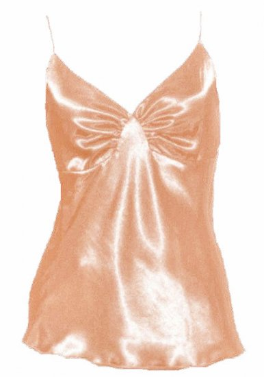Sinfully Sexy Soft Peach Satin Ruched Cami Top - Large