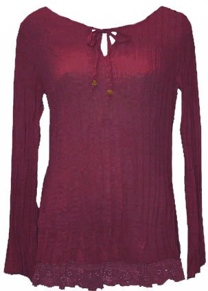 Burgundy Wine Boho Crinkle Pleated Lace Trim Top - Small