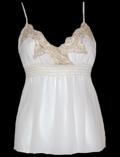 Sexy Goddess White Chiffon Gold Lace Babydoll Top - Large