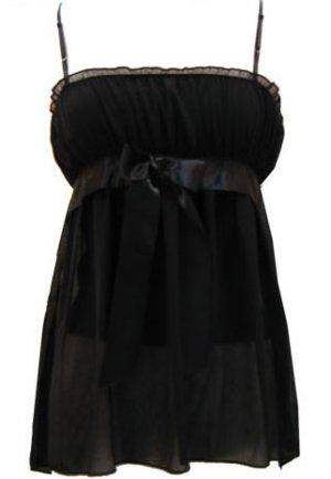 Sexy Soft Dreamy  Romantic Black Chiffon Babydoll Top - Small