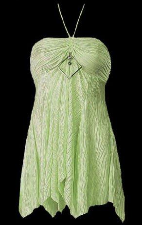 Flirty Green Crinkle Bandeau Babydoll Halter Top - Medium