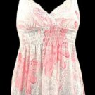 Sexy Dainty White Pink Floral Smocked Babydoll Top - Medium