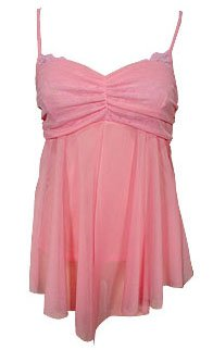 Sweet Girly Pink Mesh & Lace Babydoll Cami Top - Small